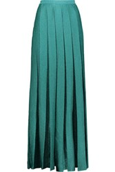 Missoni Pleated Metallic Stretch Knit Maxi Skirt Emerald