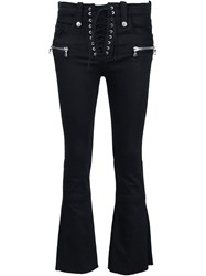 Unravel Cropped Drawstring Jeans Black