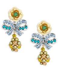 Gerard Yosca Rose And Bow Drop Earrings Blue