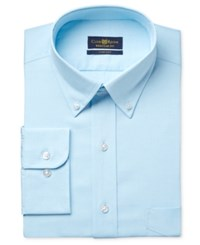 Club Room Estate Men's Classic Fit Wrinkle Resistant Aqua Pin Point Solid Dress Shirt Only At Macy's