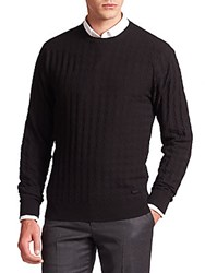 Armani Collezioni Textured Crewneck Sweater Solid Blue