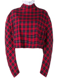 A.W.A.K.E Ruched Sleeve Cropped Sweatshirt Red