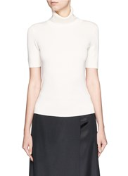 Neil Barrett Ponte Knit Turtleneck Top White