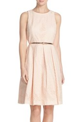Eliza J Eyelet Cotton Fit And Flare Dress Petite Pink