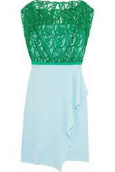 Vionnet Guipure Lace Paneled Washed Silk Blend Dress Green