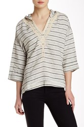 Twelfth St. By Cynthia Vincent Embroidered Stripe Hooded Pullover Black