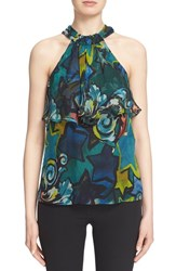 Women's Versace Collection Ruffle Trim Print Silk Chiffon Halter Top
