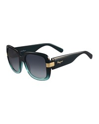 Salvatore Ferragamo Gancio Two Tone Square Sunglasses Green