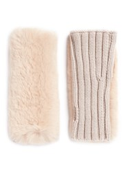 Yves Salomon Rabbit Fur Panel Wool Cashmere Knit Fingerless Gloves Pink