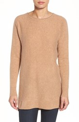 Halogenr Petite Women's Halogen High Low Wool And Cashmere Tunic Sweater Heather Camel