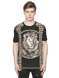 Versus Lion And Greek Motif Cotton Jersey T Shirt