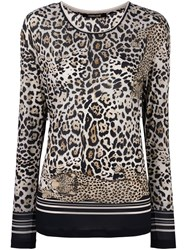 Roberto Cavalli Long Sleeved Leopard T Shirt Multicolour
