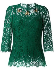 Dolce And Gabbana Embellished Lace Blouse Green