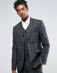 Asos Slim Suit Jacket In Charcoal With Black Check Charcoal Grey