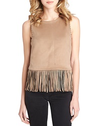 1 State Faux Suede Fringe Top Shadow Brown
