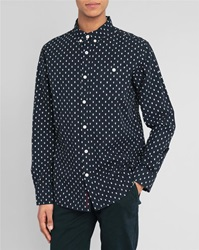 Knowledge Cotton Apparel Navy Blue Shirt With All Over Owl Print