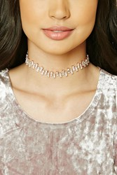 Forever 21 Rhinestone Collar Necklace Rose Gold Clear