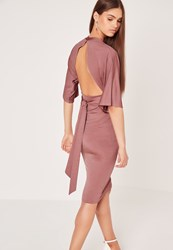 Missguided Kimono Sleeve Open Back Midi Dress Pink Red