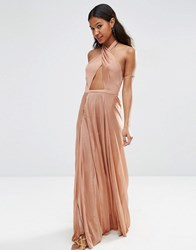 Asos Slinky Jersey Cross Wrap Maxi Beach Dress Mink Pink