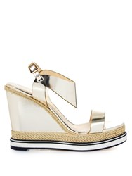 Nicholas Kirkwood Leda Leather And Espadrille Wedge Sandals Gold