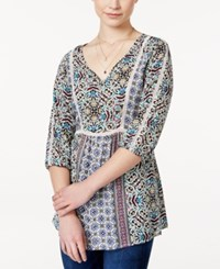 American Rag Printed Crochet Trim Tunic Top Only At Macy's