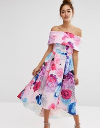 Asos Placed Floral Dip Back Bardot Off Shoulder Maxi Dress Floral Multi