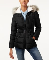 Laundry By Design Faux Fur Trim Belted Puffer Coat Black