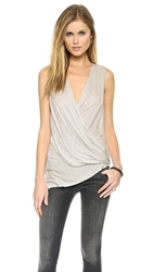 Lanston Asymmetrical Surplice Top Heather