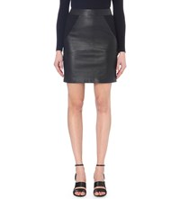 Reiss Clarisse Panelled Leather Skirt Black
