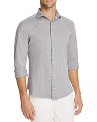 Eleventy Micro Dot Knit Slim Fit Button Down Shirt Light Grey