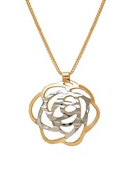 Lord And Taylor 14K Italian Gold Flower Pendant Necklace Yellow Gold