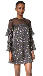 Cynthia Rowley Prairie Floral Mini Dress Black Purple