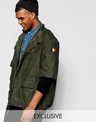 Reclaimed Vintage Military Jacket With Raw Cut Sleeves Green