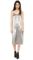 Atm Anthony Thomas Melillo Deep V Slip Dress Silver