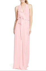 Women's Nouvelle Amsale 'Erica' Ruffle Chiffon Halter Neck Wrap Gown Peony