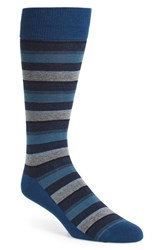Calibrate Men's 'Mixed Stripe' Socks Blue Poseidon