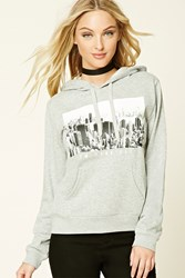Forever 21 New York City Graphic Hoodie Heather Grey White