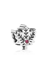 Pandora Design Pandora Charm Sterling Silver Maple Leaf Moments Collection Silver Red