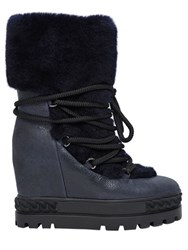 Casadei 120Mm Shearling And Leather Lace Up Boots