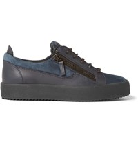 Giuseppe Zanotti Leather And Suede Sneakers Blue