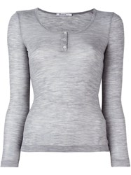 Alexander Wang T By Scoop Neck Henley T Shirt Grey