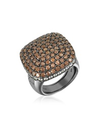 Azhar Cubic Zirconia Sterling Silver Square Cocktail Ring Black