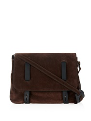 Tomas Maier Suede And Leather Messenger Bag