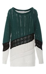 Prabal Gurung Long Sleeve Scoop Neck Chunky Knit Multi