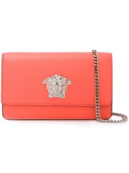 Versace 'Palazzo Medusa' Patent Foldover Clutch Pink Purple