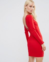 Forever Unique Gwyneth Long Sleeve Scoop Back Mini Dress With Embelishment Red