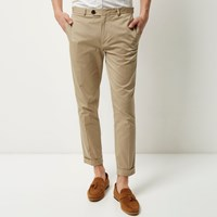 River Island Mens Beige Cropped Skinny Trousers