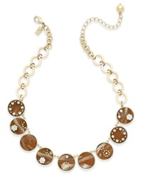 Kate Spade New York Out Of Her Shell Gold Tone Tortoiseshell Look Collar Necklace Brown