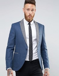 Noose And Monkey Skinny Blazer In Tweed Blazer With Contrast Lapel Navy