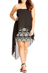 City Chic Plus Size Women's 'Adrianne' High Low Overlay Strapless Mixed Media Dress